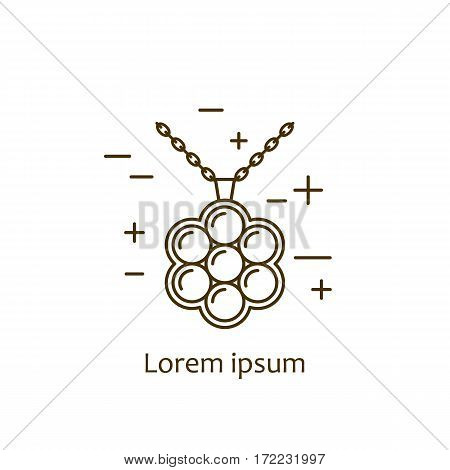 Jewelry necklace symbol vector illustration. Diamond logo symbol. Fashion luxury gift icon isolated. Gold brilliant silver gem crystal accessories silhouette