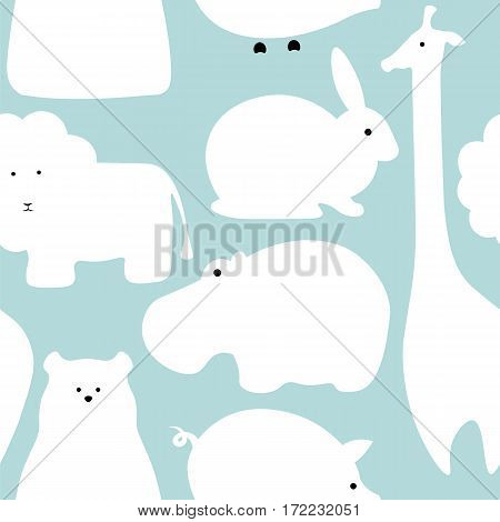Vector flat animals design background. Cute seamless pattern with giraffe lion hippo polar bear pig rabbit