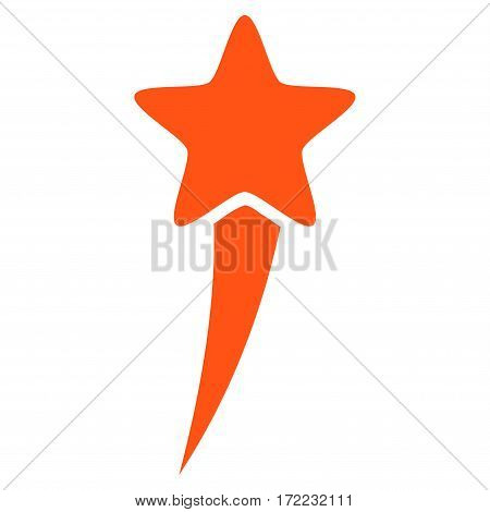 Starting Star flat icon. Vector orange symbol. Pictogram is isolated on a white background. Trendy flat style illustration for web site design logo ads apps user interface.