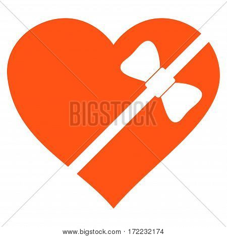 Tied Love Heart flat icon. Vector orange symbol. Pictogram is isolated on a white background. Trendy flat style illustration for web site design logo ads apps user interface.