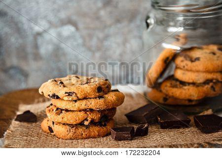 Beautiful Round Chocolate Cookies On Burlap Background
