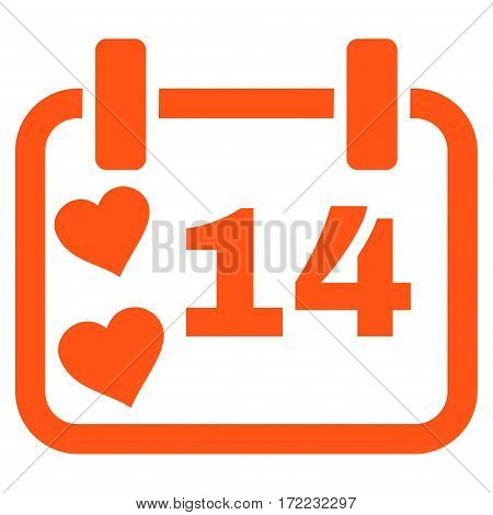 Valentine Calendar Day flat icon. Vector orange symbol. Pictogram is isolated on a white background. Trendy flat style illustration for web site design logo ads apps user interface.