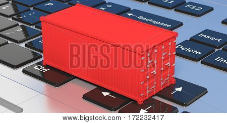 Container On A Keyboard. 3D Illustration