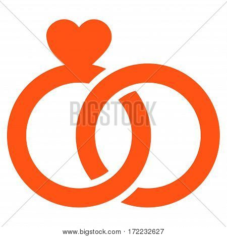 Wedding Rings flat icon. Vector orange symbol. Pictogram is isolated on a white background. Trendy flat style illustration for web site design logo ads apps user interface.