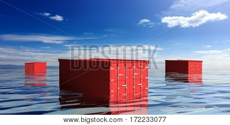 Containers In The Sea. 3D Illustration