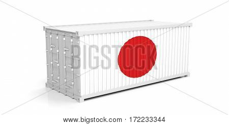 Japan Flag On Container. 3D Illustration