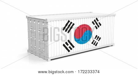 South Korea Flag On Container. 3D Illustration