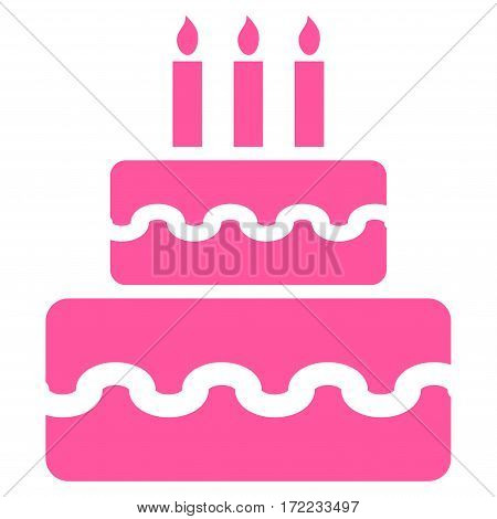 Birthday Cake flat icon. Vector pink symbol. Pictogram is isolated on a white background. Trendy flat style illustration for web site design logo ads apps user interface.