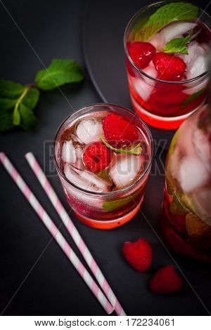 Fresh Raspberry Vodka Cocktail Lemonade. Selective focus.