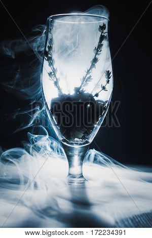 Smoky Wine Glass At Abstract Background