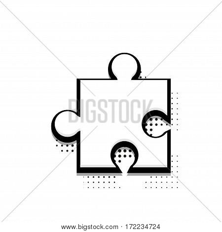Vector modern halftone puzzle icon on white background