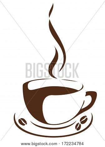 vector illustration of a cup of coffee with coffee beans