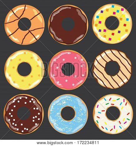 vector illustration of different donuts isolated on dark background
