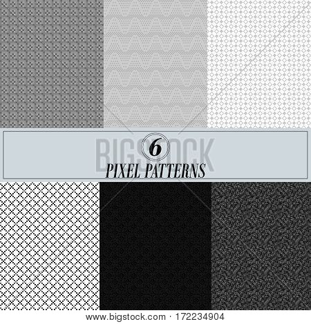 A collection of six pixel patterns. The backdrop for the site. The raster images of each background are in the portfolio.