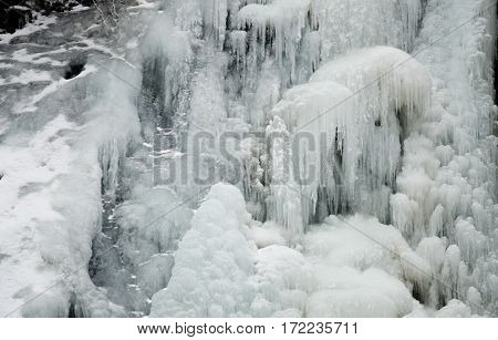 The ice stalactite ice frozen water in the forest