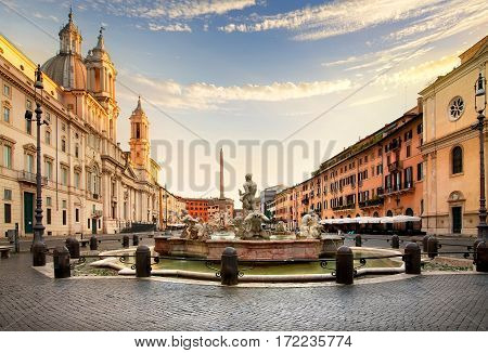 The Piazza Navona at sunset, Rome. Italy