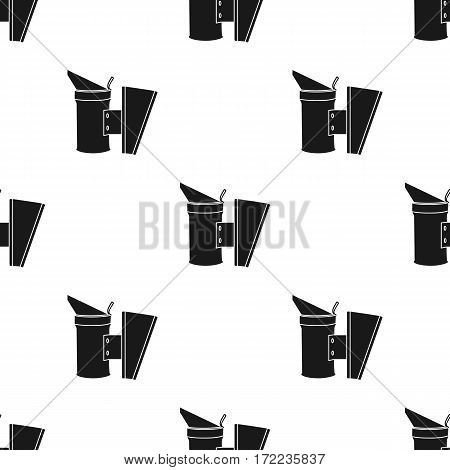 Bee smoker icon in black style isolated on white background. Apiary pattern vector illustration