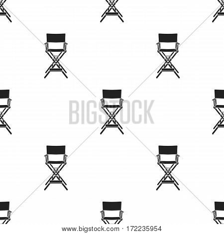 Director's chair icon in black style isolated on white background. Films and cinema pattern vector illustration.