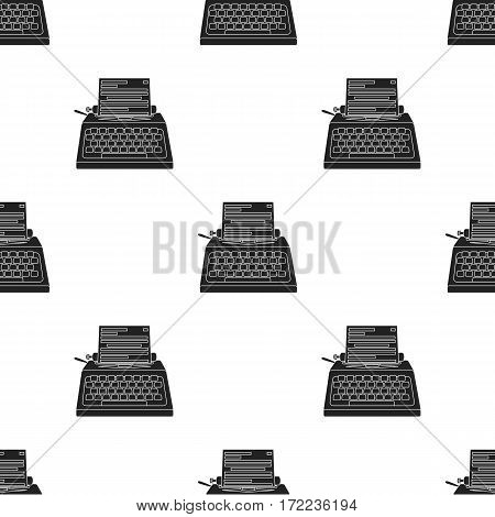 Typewriter icon in black style isolated on white background. Films and cinema pattern vector illustration.