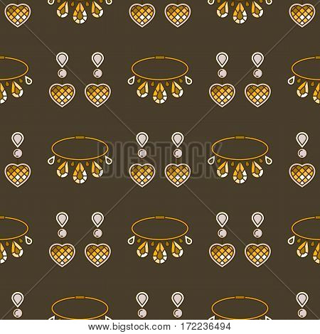 Set of vector jewelry line seamless pattern. Diamond luxury colorful collection. Earrings and necklace silhouettes. Pearl gold silver gem crystal sapphire element. Treasure collection