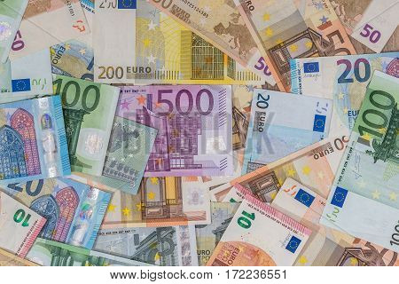 different Euro money close up of banknotes