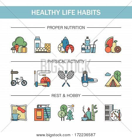 Healthy lifestyle habits colorful line vector icons isolated. Proper nutrition fruit vegetables water seafood. Physical activity sport outdoor exercise fitness. Rest and hobby sleep reading spa