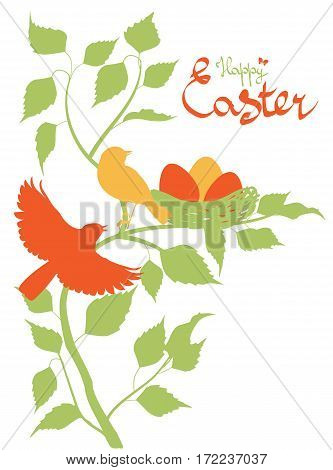 Easter Background With Birds In The Nest