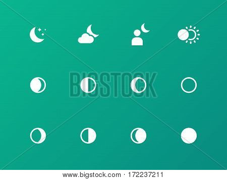 Seamless moon phase icons on green background. Vector illustration.