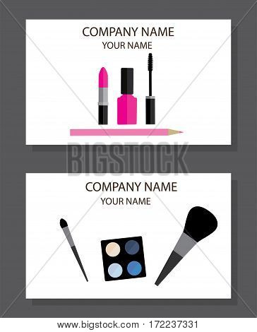vector illustration of make up artist business cards