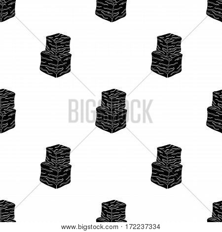 Diced beef icon in black style isolated on white background. Meats pattern vector illustration
