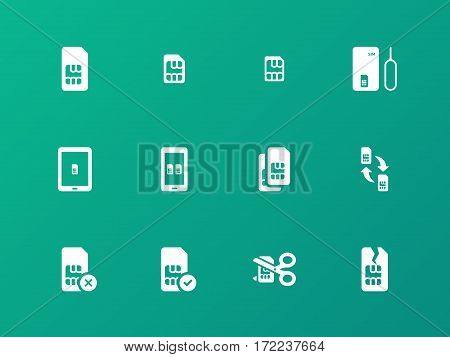SIM card icons on green background. Vector illustration.