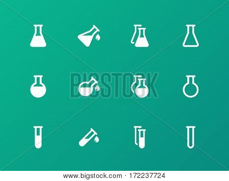 Erlenmeyer flasks flask tube icons on green background. Vector illustration.