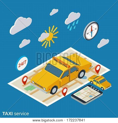 Taxi service flat 3d isometric vector illustration