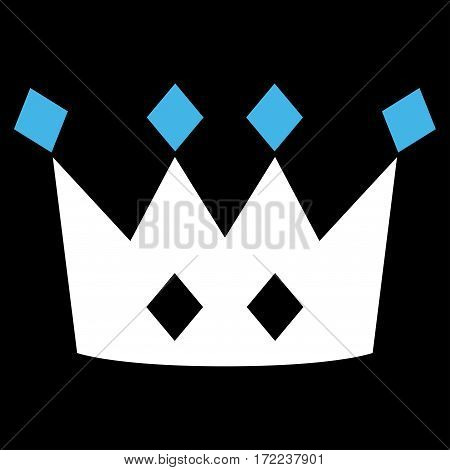 Crown flat icon. Vector bicolor blue and white symbol. Pictogram is isolated on a black background. Trendy flat style illustration for web site design logo ads apps user interface.