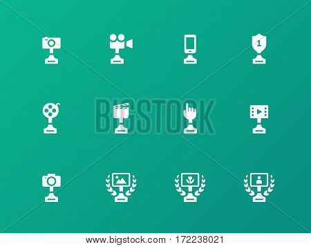 Award icons on green background. Vector illustration.
