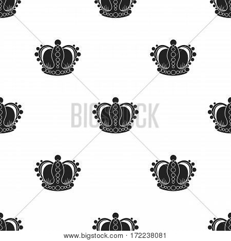 Crown icon in black style isolated on white background. Museum pattern vector illustration.