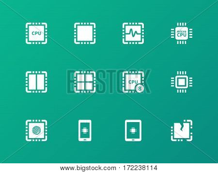 Central Processing Unit icons on green background. Vector illustration.