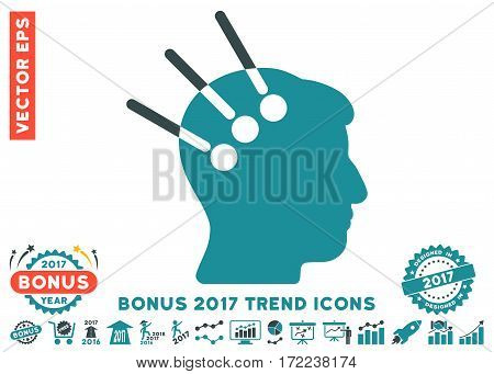 Soft Blue Neural Interface icon with bonus 2017 year trend symbols. Vector illustration style is flat iconic bicolor symbols white background.