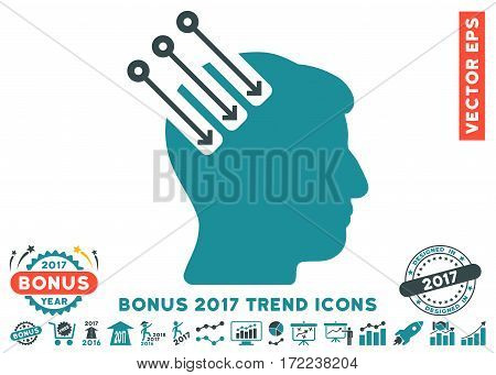 Soft Blue Neuro Interface icon with bonus 2017 year trend pictures. Vector illustration style is flat iconic bicolor symbols white background.