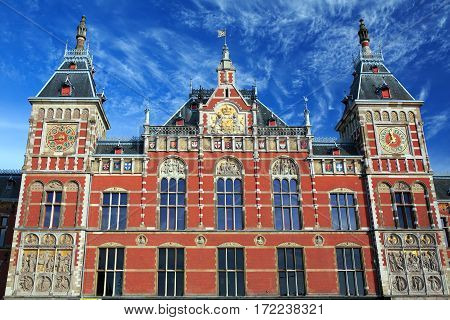Main railway station in Amsterdam designed by Dutch architect Pierre Cuypers and first opened in 1889. The Netherlands