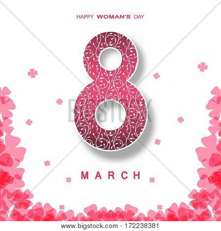 Vector poster for 8 of March Woman's Day on the white background with number shape pink abstract pattern from clover leaves shapes shadow and text.