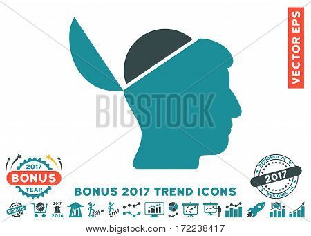 Soft Blue Open Brain pictogram with bonus 2017 trend pictograph collection. Vector illustration style is flat iconic bicolor symbols white background.