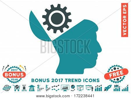 Soft Blue Open Head Gear pictogram with bonus 2017 trend elements. Vector illustration style is flat iconic bicolor symbols white background.