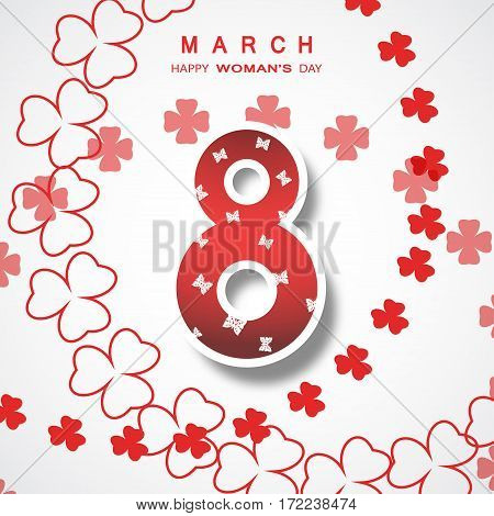 Vector poster for 8 of March Woman's Day on the white background with floral abstract pattern text.