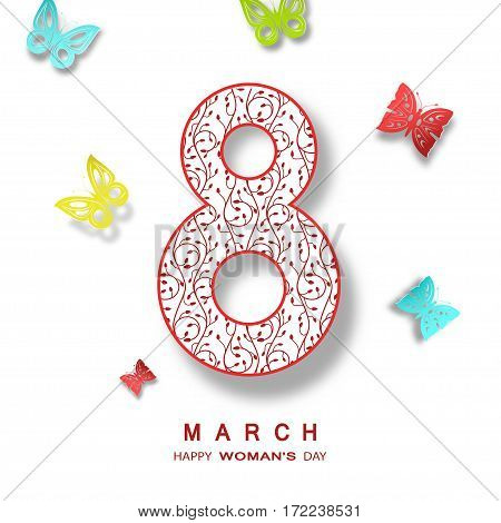 Vector 8 of March Woman's Day on the white background with text and butterflies different colors.