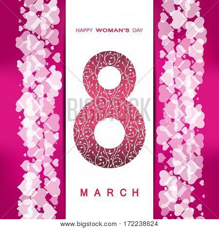 Vector 8 of March Woman's Day on the dark pink background with pocket heart pattern text and shadow.