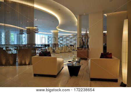 BAKU/ AZERBAIJAN - May 9, 2012. The interior of the hotel JW Marriott Hotel Absheron in the center of  Baku, Azerbaijan.