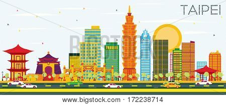 Taipei Skyline with Color Buildings and Blue Sky. Business Travel and Tourism Concept. Image for Presentation Banner Placard and Web Site.
