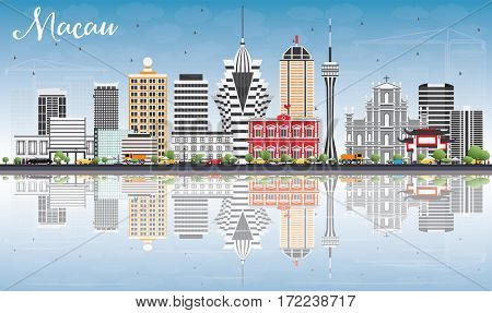 Macau Skyline with Gray Buildings, Blue Sky and Reflections. Business Travel and Tourism Concept with Modern Architecture. Image for Presentation Banner Placard and Web Site.