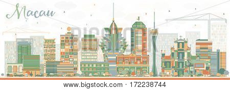 Abstract Macau Skyline with Color Buildings. Business Travel and Tourism Concept with Modern Architecture. Image for Presentation Banner Placard and Web Site.